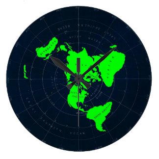 Disque plat de carte de la terre grande horloge ronde