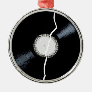 Disque simple cassé d'étiquette ornement rond argenté