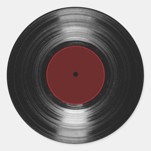 disque vinyle autocollant rond
