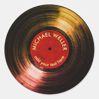 disque vinyle d'ajouter-nom sticker rond