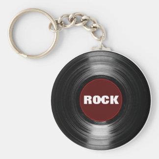 disque vinyle de roche porte-clé rond