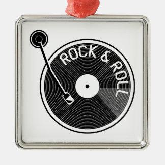 Disque vinyle de rock de tourne-disque de Turtable Ornement Carré Argenté