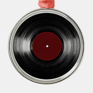 disque vinyle ornement rond argenté