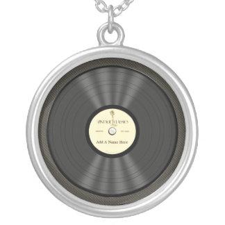 Disque vinyle vintage personnalisé de microphone pendentif rond