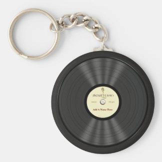 Disque vinyle vintage personnalisé de microphone porte-clé rond