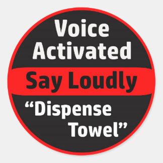 Distributeur à commande vocale de serviette de sticker rond