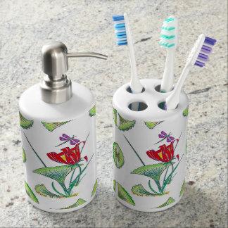 Distributeur floral de savon de support de brosse set de salle de bain