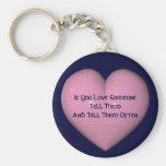 Dites-leur que vous les aimez coeur rose Keychain Porte-clefs