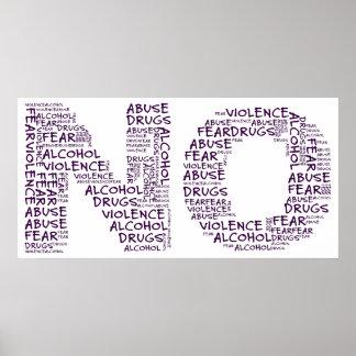 Dites non à la violence, à l'abus, aux drogues, à  poster