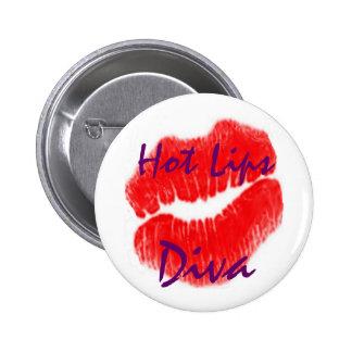 """""""Diva chaude de lèvres"""" dans le bouton blanc Badges"""
