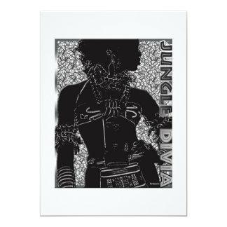 Diva de jungle carton d'invitation  12,7 cm x 17,78 cm