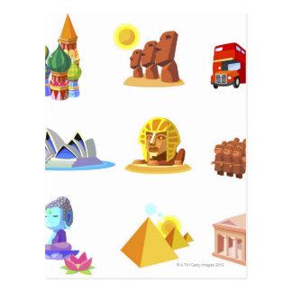 Divers monuments de monde carte postale