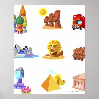 Divers monuments de monde posters
