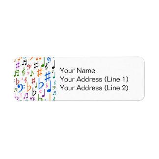 Divers notes musicales et symboles étiquette d'adresse retour