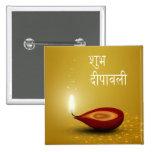 Diwali heureux Diya - bouton Pin's