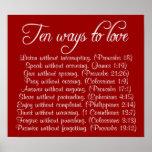 Dix manières d'aimer l'affiche de vers de bible affiche