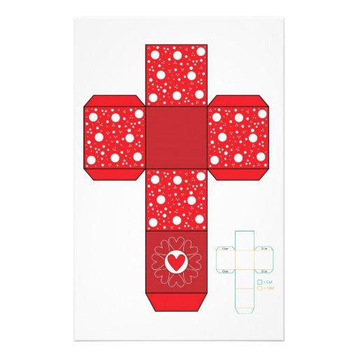 DIY- modèle rouge de boîte de coeur Motifs Pour Papier À Lettre | Zazzle