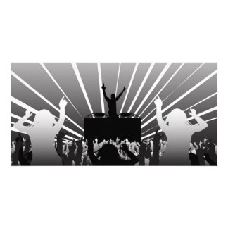 DJ-aube-negru-Cu-fête Carte Avec Photo