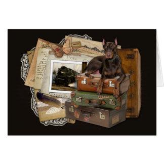 Dobermann de déplacement - rocheux carte de vœux