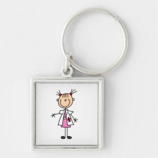 Docteur féminin Stick Figure Porte-clé Carré Argenté