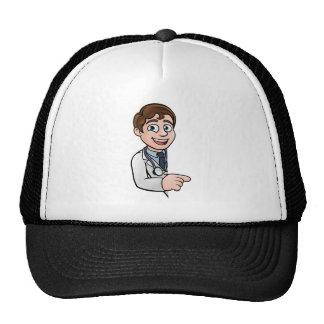 Docteur personnage de dessin animé dirigeant le casquette trucker