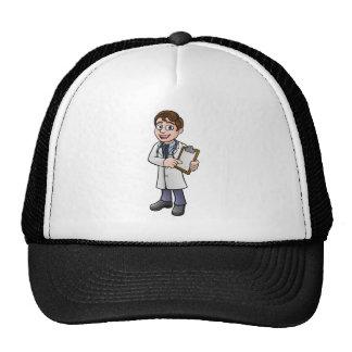Docteur personnage de dessin animé tenant le casquette de camionneur