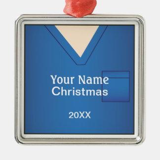 Docteur Scrubs Christmas Blue Premium 2 Ornement Carré Argenté