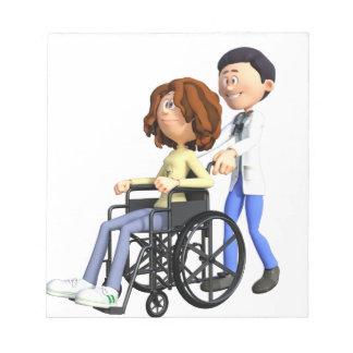 Docteur Wheeling Patient In Wheelchair de bande Blocs Notes