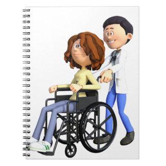 Docteur Wheeling Patient In Wheelchair de bande Carnet