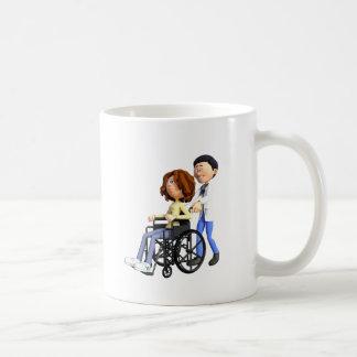 Docteur Wheeling Patient In Wheelchair de bande Mug