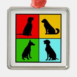 Dogs styles ornement carré argenté