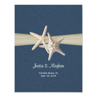 Dollar de sable et réception bleue de toile de carton d'invitation 10,79 cm x 13,97 cm