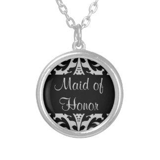 Domestique de damassé d'honneur victorienne pendentif rond