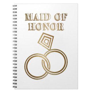 Domestique de épouser romantique d'anneaux d'or carnets