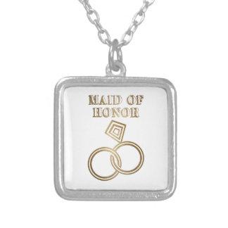 Domestique de épouser romantique d'anneaux d'or pendentif carré