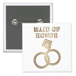 Domestique de épouser romantique d'anneaux d'or pin's