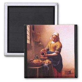 Domestique de lait par Johannes Vermeer Magnet Carré