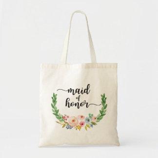 Domestique de sac fourre-tout floral à aquarelle