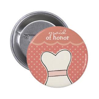 Domestique d'honneur -- ROSE de //de robe de maria Badge Rond 5 Cm