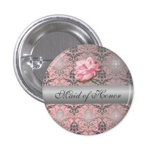 Domestique grunge rose de damassé de bouton badges