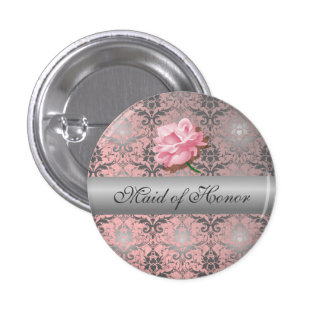 Domestique grunge rose de damassé de bouton d'honn badge rond 2,50 cm