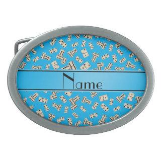 Dominos nommés personnalisés de bleu de ciel boucles de ceinture ovales