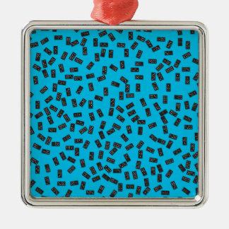 Dominos sur le bleu ornement carré argenté