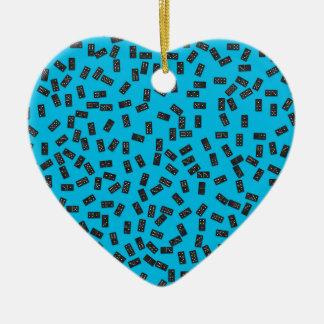 Dominos sur le bleu ornement cœur en céramique