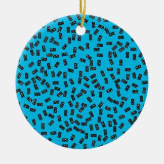 Dominos sur le bleu ornement rond en céramique