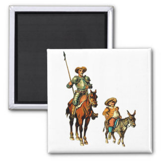 Don don Quichotte et Sancho Panza Magnet Carré