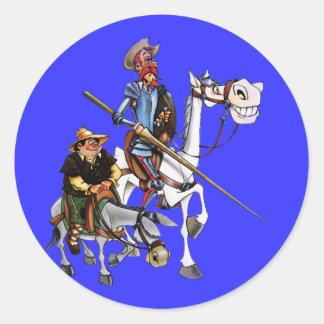 DON QUIJOTE, SANCHO, ROCINANTE y RUCIO - Cervantes Sticker Rond