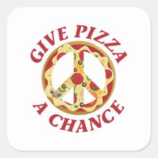 Donnez à pizza une occasion sticker carré
