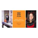 Donnez à une huée le hibou mignon Halloween orange Carte Avec Photo