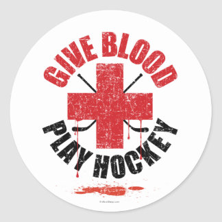 Donnez l hockey v1 de jeu de sang adhésif rond